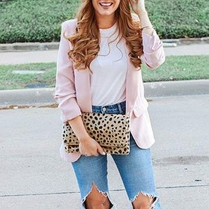 Pink Blazer with Ruched Sleeves and Pockets
